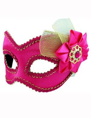 Side Bow Hot Pink and Gold Masquerade Mask