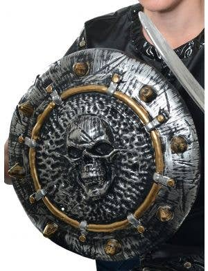 Antiquated Silver Skull Shield Costume Accessory