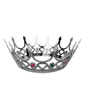 Jeweled Medieval Silver Crown Costume Accessory