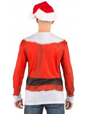 Faux Real Santa Print Men's Christmas Costume Shirt