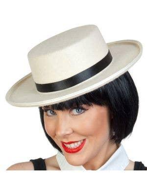 Cream Feltex Boater Hat Costume Accessory