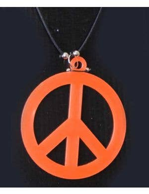 1960's Peace Sign Costume Necklace in Orange