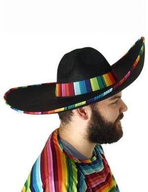 Mexican Adult's Black Sombrero Hat with Rainbow Trim