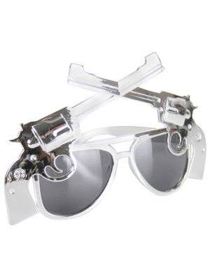 Double Pistol Metallic Silver Costume Sunglasses
