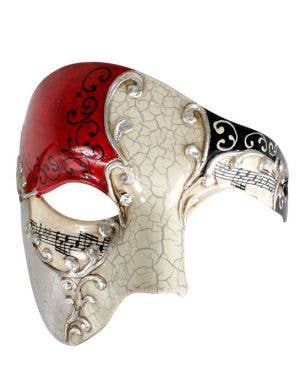 Crackle Paint Men's Cream and Red Over Eye Mask