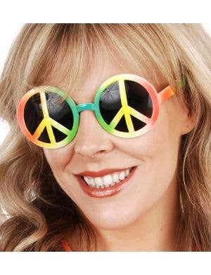 Peace Sign Novelty Rainbow Costume Glasses