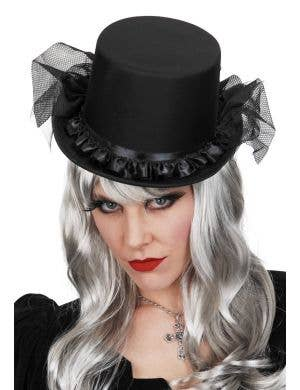 Black Widow Ruffled Satin Top Hat