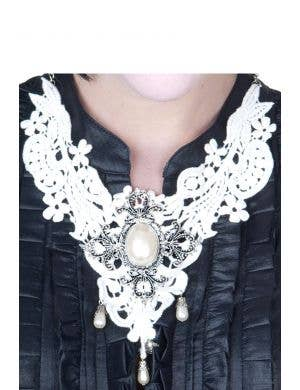 Lace and Pearls White Necklace Costume Accessory