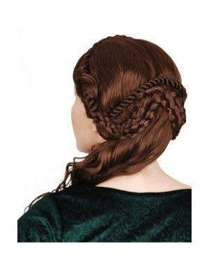 Medieval Women's Brown Deluxe Mary Wig With Braids