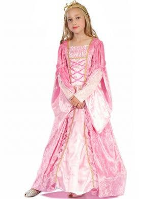 Medieval Girl's Pink Princess Fancy Dress Costume