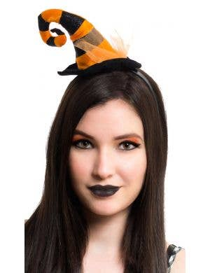 Mini Orange Striped Witch Hat on Headband Accessory