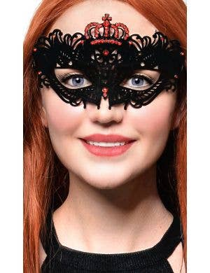 Flocked Finish Black and Red Crown Mask