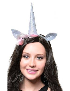Silver Holographic Unicorn Costume Headband Accessory Set