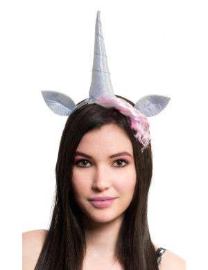 Silver Holographic Unicorn Costume Headband Accessory Set