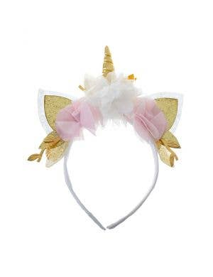 Unicorn Floral Gold Glitter Headband Accessory