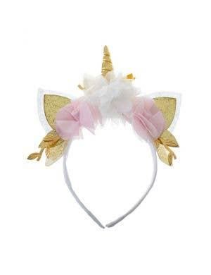Unicorn White , Gold and Pink Floral Glitter Headband Accessory