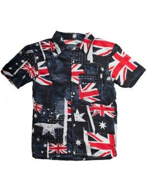Australia Day Men's Aussie Flag Button Up Shirt