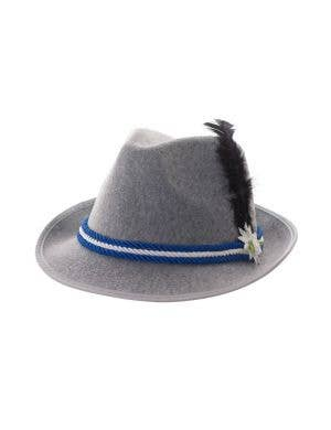Grey Fedora Blue and White Oktoberfest Hat