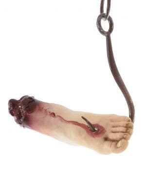 Severed Foot on Hook Halloween Decoration