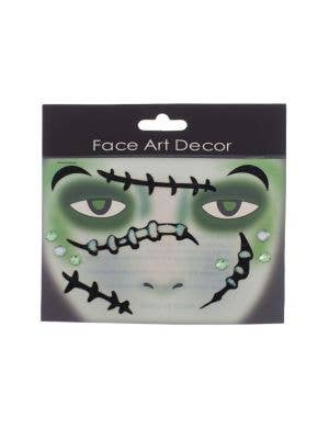 Frankenstein Black and Green Stick On Makeup
