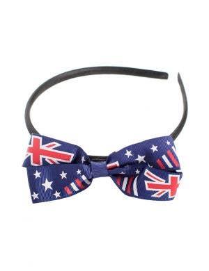 Australian Flag Blue Bow Headband Costume Accessory