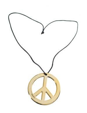 Hippie Peace Sign Gold Costume Necklace