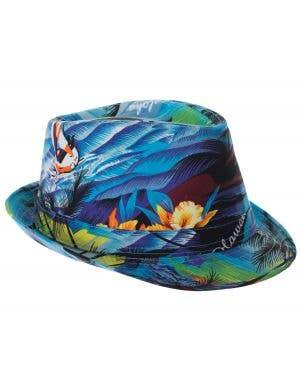 Tropical Blue Hawaiian Fedora Costume Hat