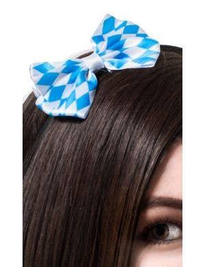 Mini Blue and White Bow Oktoberfest Headband