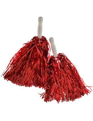 Cheerleader Spirit Metallic Red Pom Poms