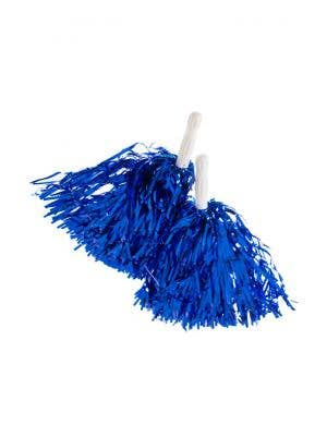 Cheerleader Spirit Metallic Blue Pom Poms