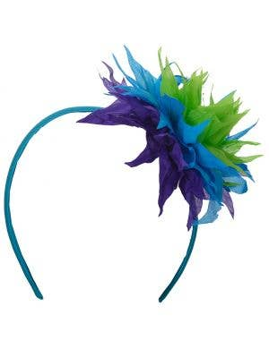Hawaiian Spiked Blue Flower Headband Costume Accessory