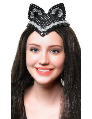 Feisty Feline Black and Silver V-front Cat Ears Accessory