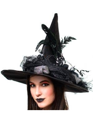 Halloween Women's Extravagant Black And Silver Witch Hat With Veil