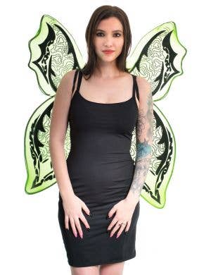 Giant Green and Black Glitter Halloween Wings