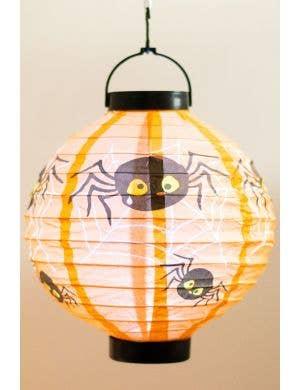 Mini Light Up Spider Orange Lantern Halloween Decoration