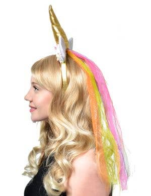 Unicorn Floral Headband with Rainbow Net Veil Costume Accessory