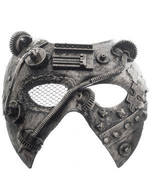 Antique Silver Mesh Eye Men's Masquerade Mask