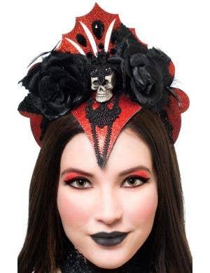 Vampire Queen Red Glitter Halloween Headband