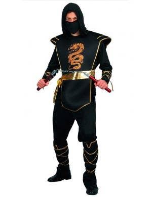 Ninja Black and Gold Men's Fancy Dress Costume