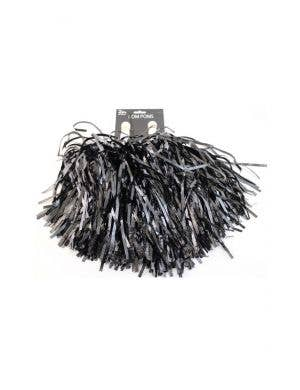 Metallic Black Tinsel Cheerleader Pom Poms Costume Accessory