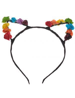 Flower Rainbow Cat Ears Wire Headband