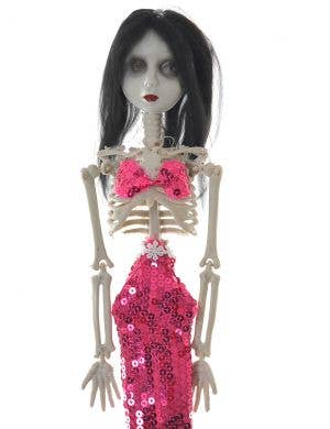 Creepy Pink Sequinned Mermaid Skeleton Halloween Decoration