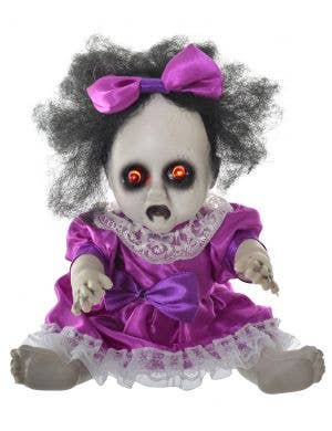Evil Baby Doll with Light Up Eye's 30cm Halloween Decoration - Purple