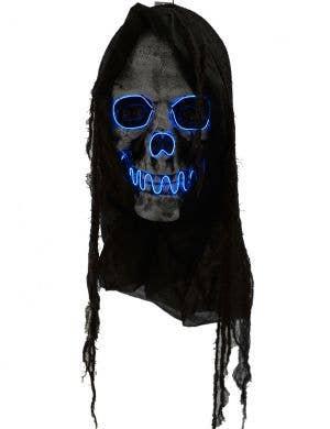 Hanging 50cm Blue LED Light Up Skull Face Halloween Decoration