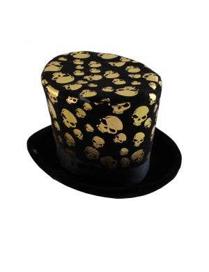 Mini Top Hat Gold Skull Halloween Costume Accessory