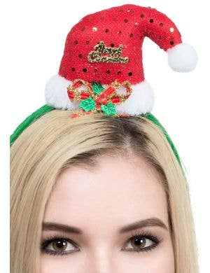 Novelty Sequined Red Santa Hat on Headband