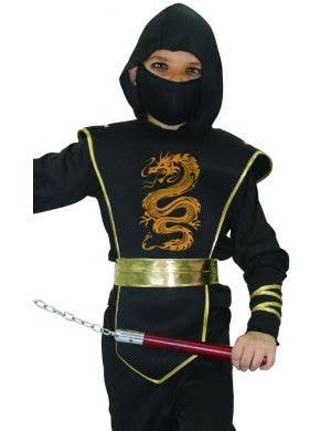 Ninja Boys Black and Gold Fancy Dress Costume