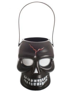 Skull Trick or Treat Black Candy Bucket