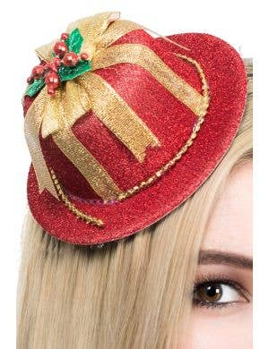 Mini Red and Gold Christmas Hat on Clips