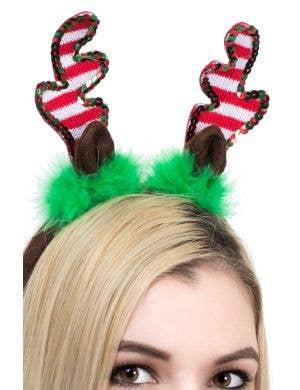 Sequined Christmas Reindeer Antlers on Headband